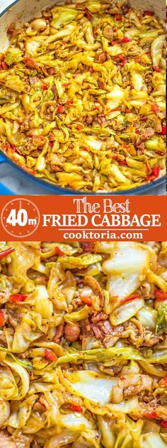 This Fried Cabbage recipe is insanely good! Made with bacon onion bell pepper and a touch of hot sauce it is easy to make simple and comes out perfect every time! Fried Cabbage Recipes, Bacon Fried Cabbage, Cabbage Rolls Recipe, Vegetable Recipes, Vegetarian Recipes, Cooking Recipes, Healthy Recipes, Best Cabbage Recipe, Ark Recipes