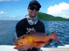 Caught a red bass in their Vanuatu fishing expedition.