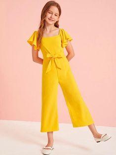 Girls Flutter Sleeve Zip Back Self Belted Jumpsuit – Kidenhouse Teenage Girl Outfits, Dresses Kids Girl, Kids Outfits Girls, Little Girl Outfits, Cute Girl Outfits, Cute Dresses, Kids Girls, Young Girl Fashion, Girls Fashion Clothes