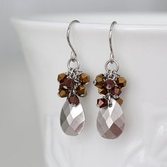 Silver Drop Czech Vintage Crystal Cluster Earrings by YuniDesigns