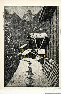 Sunset at Minakami, Gunma, Joshu, by Shiro Kasamatsu, 1958