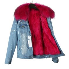 Maomaokong Brand Women Denim Coat Girl Denim Jacket Real Rabbit Fur Thick Lining Raccoon Fur Collar Bomber Jacket Keep Warm Girls Denim Jacket, Denim Bomber Jacket, Denim Coat, Warm Outfits, Womens Fashion Online, Light Denim, Rabbit Fur, Rex Rabbit, Fur Collars