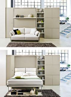 """Visit our site for even more details on """"murphy bed ideas ikea queen size"""". It is actually an exceptional place to find out more. Murphy Bed Ikea, Murphy Bed Plans, Horizontal Murphy Bed, Space Saving Beds, Convertible Furniture, Modern Murphy Beds, Small Home Offices, Multipurpose Furniture, Basement Furniture"""