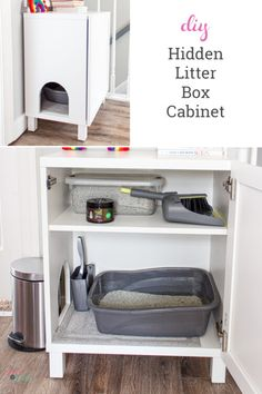 Best litter box idea I've seen to make a DIY hidden litter box for the cat using an IKEA cabinet. This litter box enclosure is dog proof, cheap and an easy project to make this cabinet. Hiding Cat Litter Box, Best Litter Box, Hidden Litter Boxes, Dog Proof Litter Box, Kitty Litter Boxes, Diy Litter Box Cover, Cat Litter Cabinet, Cat Litter Box Enclosure, Cat Boxes