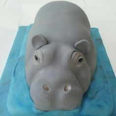 Hippo cake Ice Skating Party, Skate Party, Africa Cake, Hippo Cake, Jungle Cake, Jungle Party, Cartoon Hippo, Sport Cakes, Sculpted Cakes