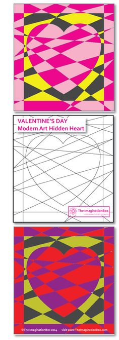 Make a great card or wall art with this free download, a Valentine's Day inspired 'Modern art Hidden Heart' colouring activity. Great for children to experiment with how different colours can impact each other. Will the heart 'recede' or 'jump out'?