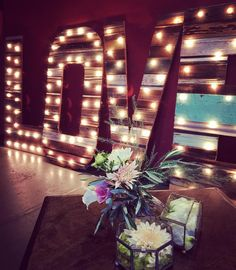 Love marque letters by Roots Reclaimed at the Miners Foundry, photo by Farm to Table Catering, Nevada City wedding