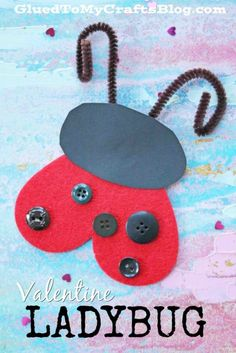 Simple and inexpensive craft materials come together nicely for today's Heart Shaped Valentine's Day Ladybug kid craft idea! Cute Kids Crafts, Valentine's Day Crafts For Kids, Craft Activities For Kids, Diy For Kids, Preschool Projects, Craft Ideas, Insect Crafts, Bug Crafts, Valentine Theme