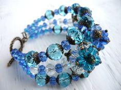 Blue flower bracelet beaded bracelet glass bracelet beaded jewelry blue bracelet bright bracelet blue glass bracelet blue flower jewelry