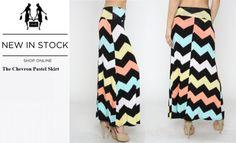 CHEVRON PASTEL PRINT Maxi Skirt – Butterfly Boutique