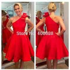 Find More Dresses Information about 2015 Hot Sale Fashionable Vestidos Knee Length Sexy One Shoulder Sleeveless Bow Custom Made Red A Line Party Dresseses,High Quality bow jewellery,China bow pumps Suppliers, Cheap bow compass from Forever Lover Bridal on Aliexpress.com