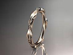14k rose gold wedding ring,engagement ring,wedding band via Etsy.