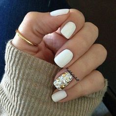 White nails with silver gold jewels #white #nailart