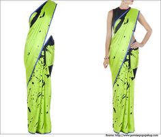 Satya Paul Sarees - Printed Designer Sarees, Black Blouse Design