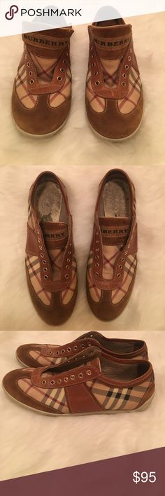 Brown Leather & Suede Burberry Sneakers - Trainers Burberry Sneakers                                                                Size 36- No Laces- Needs Inside Cushions, I removed them and can't find them.                                        Comes with Original dust bag.                                 GREAT Condition as seen in photos!!!! Burberry Shoes Sneakers