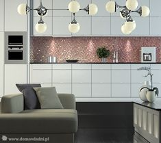 Strong accents give definition to this open-concept dining area kitchen and living room. Open Concept, Interior Design Kitchen, Dining Area, Double Vanity, Kitchen Cabinets, Living Room, Lifestyle, Home Decor, Kitchen Ideas