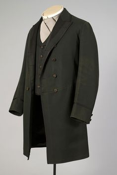 Green wool frock coat and vest, American, 1870s, KSUM 1984.21.1 ab.