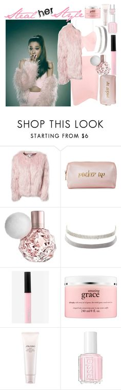 """Steal her Style: Ariana Grande"" by ashlyn91 ❤ liked on Polyvore featuring Estradeur, Neiman Marcus, Charlotte Russe, Express, philosophy, Shiseido, Essie, Nails Inc., ashlyn91remember and AshlynsOutfitInspo"