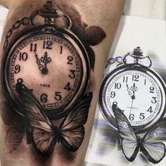 >>YAYA⏰ @pauulamiranda #t #tattoo #tatuaje #ink #malaga #malagatattoo #reloj #clock #butterfly