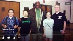 4 time Gold medalist Harrison Dillard was nice enough to speak to the Fairport Track team in 2001 .