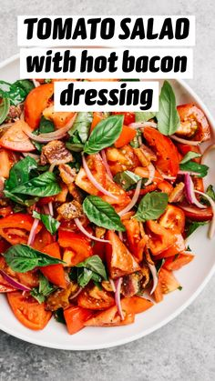 Vegetarian Salad Recipes, Healthy Crockpot Recipes, Veggie Recipes, Cooking Recipes, Tomato Salad Recipes, Dinner Recipes, Hot Bacon Dressing, Side Dishes For Salmon, Dandelion Recipes