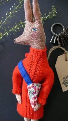 Hazel Savoy the little hare fabric art doll by pantovola on Etsy