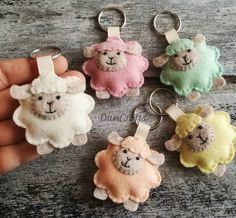Sheep keychain, Lamb ornament, Lamb keychain, Pastel Sheep ornament, Wool felt keychain / READY to SHIP Sheep Crafts, Felt Crafts, Diy Crafts, Elephant Keychain, Sewing Crafts, Sewing Projects, Felt Keychain, Christening Favors, Cute Sheep