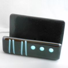 Fused Glass Business Card Holder by PattyMelts on Etsy