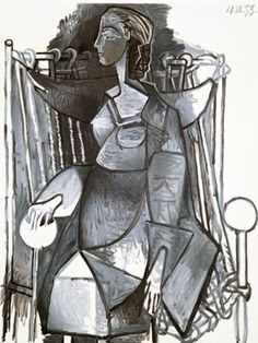 Femme Assise Dans Un Fauteuil Tresse Lithograph on Arches Paper by Pablo Picasso From the Edition of 500
