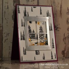 Handmade by Kim Window Shaker Card using Winter Wonderland DSP, Happy Scenes stamp set & Hearth & Homes thinlit dies Stampin' Up!