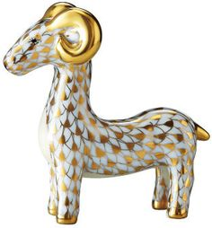 Herend Hand Painted Porcelain Figurine of Zodiac Aries the Ram Gold Fishnet Gold Accents.