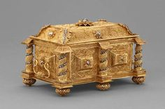 Periods & Styles Rare Art Noveau Antique Gilt Filigree Jewellery Box Erhard & Sohne C1910 Key