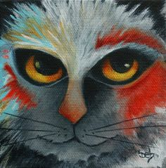Cat Wild PRINT from Original Art Archival  6 X 6 Rag by DebHarvey, $15.00