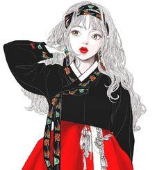부족하고 게으른 그림 예쁘게 봐주셔서 고맙습니다#낙서#그림#일러스트#black#한복#생활한복 Girls Anime, Manga Girl, Anime Art Girl, Korean Traditional Dress, Traditional Outfits, Korean Art, Asian Art, Character Art, Character Design