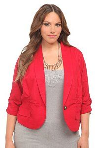 Red Linen Cropped Blazer | Jackets