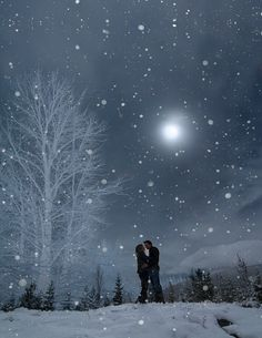Image result for couple walking on a snowy night