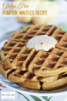 Gluten Free Pumpkin Waffles Recipe with Yoplait® Greek Yogurt #SnackandSmile #sponsored