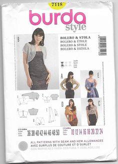 Women Bolero and Stole Burda Style 7118 Sewing Pattern Miss Sizes 10-24 Uncut