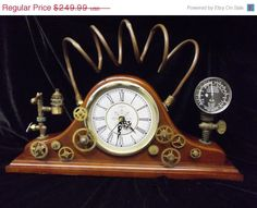 SALE The Power of Steam, Steampunk Upcycled Mantel Clock with Vintage Gauge, Copper Piping, Gears (Bettery Operated) on Etsy, $199.99