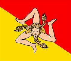 The flag of Sicily has very ancient, even mythologic origins: the triskelion symbol, Medusa and wheat ears.