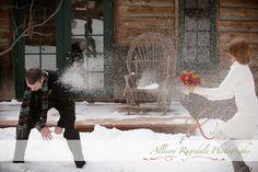 Destination Wedding Photographer | Tierni & Allens Dunton Hot Springs Wedding Snowball Fight by Allison Ragsdale Photography