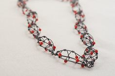 Oxidized Linked Seedpod Necklace with Coral: Kathy Frey: Silver & Stone Necklace   Artful Home