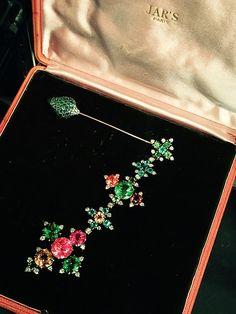 JAR fibula, 1993, of tourmaline, garnet, emerald and diamond