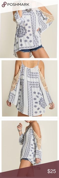 ⊰ Crochet Cold Shoulder Tunic ⊱ ⬖ Brand new purchased directly from boutique. ⬖ Ivory and navy pattern with crochet detailing on sleeves. ⬖ Bell sleeves, adjustable straps, loose fit, and drapes beautifully. ⬖ Material is a cotton blend, soft and lightweight.  •Size Medium (6-8), true to size• Tops Tunics