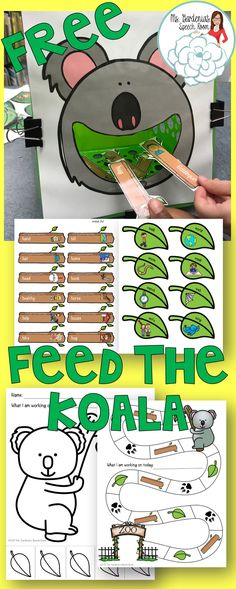 FREE SPEECH THERAPY activity for articulation; /h,w/ sounds; feed the animal; koala; from Ms. Gardenia's Speech Room
