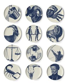 "Thomas Paul Zodiac Coaster Set         This set of 12 melamine coasters is patterned with exclusive Thomas Paul designs, referencing traditional motifs often used in fine china, but reinterpreted in a fun and modern way.  The designs are pictured from left to right, top to bottom:  Aquarius, Aries, Cancer, Capricorn, Gemini, Leo, Libra, Pisces, Sagittarius, Scorpio, Taurus, Virgo.    Dishwasher safe.  Each measures 4.5"" diamete"
