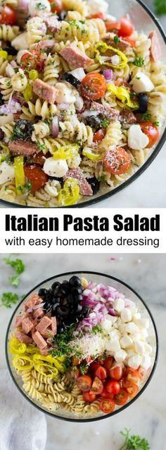 Everyone always loves this cold pasta salad with homemade Italian dressing. It starts with rotini noodles tomatoes olives mozzarella pepperoni or hard salami onion and pepperoncini tossed togeth Italian Dressing Pasta Salad, Homemade Italian Dressing, Salad Dressing Recipes, Italian Pasta Salads, Pasta Salad Dressings, Best Pasta Salad, Cold Pasta Salads, Pasta Salad Recipes Cold, Homemade Pasta Salad