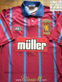 1993/94 Aston Villa Home League Cup Football Shirt (S)