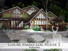 Sims 4 CC's - The Best: Luxury Family Log House by Pralinesims
