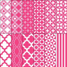 Digital paper pack moroccan stencil trellis damask quatrefoil raspberry pink on Etsy, $1.50
